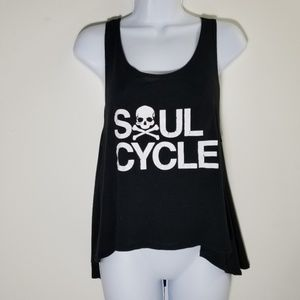 Soulcycle skull tank black and white swing tee